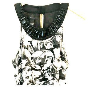 Tiered black & white Alfani sleeveless blouse